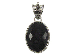 Faceted Oval Shape Onyx Pendant in Sterling Silver-36.75x24.75mm