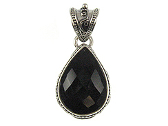 Faceted Pear Shape Onyx Pendant in Sterling Silver