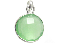 Sterling Silver Gemstone Round  Bezel  Pendant - Chalcedony Green