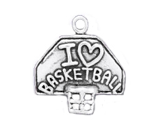 Sterling Silver Basketball Hoop with I Love Basketball Charm