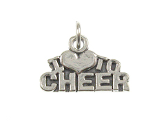 Sterling Silver I Love To Cheer Charm with Jumpring