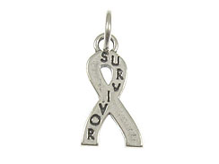 Sterling Silver Cancer Survivor Awareness Ribbon Charm with Jumpring, 50 pc Bulk Pricing