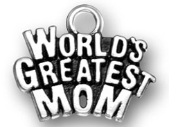 Sterling Silver World' s Greatest Mom Charm jump ring included Charm with Jumpring