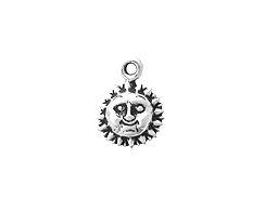 Sterling Silver Sun Face Charm with Jump Ring