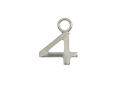9mm Sterling Silver Number Charm -  4