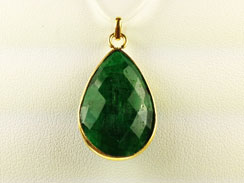 Emerald Faceted Gemstone Vermeil Bezel Pendant