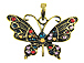 Vintage Butterfly Pendant Antique Brass Plated - Bail Included