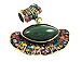 Vintage Green Oval Pendant Antique Brass Plated - Bail Included