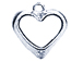 Sterling Silver Open Beveled Edge Heart Charm