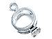 Sterling Silver Wedding Ring Set with Clear Crystal Charm
