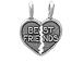 Sterling Silver Breakaway Heart with Best Friends Charm