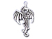 Sterling Silver Right Facing Dragon Charm