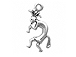 Sterling Silver Kokopelli Left Facing Charm with Jump Ring
