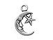 Sterling Silver Moon Face Charm with Star Charm with Jump Ring