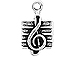 Sterling Silver Treble Clef Music Charm with Jump Ring