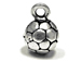 Sterling Silver 3D Soccer ball Charm 1.16gm  8.6mm w loop, diam 5.8 to 6mm