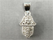 Sterling Silver Hamsa charm with Cubic Zirconia Pave Set CZ Jewerly