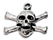Skull and Cross Sterling Silver charm 2.04 Gm