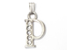 16mm Sterling Silver with SWAROVSKI Rhinestones Letter Charm - P