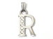 16mm Sterling Silver with SWAROVSKI Rhinestones Letter Charm - R