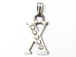 16mm Sterling Silver with SWAROVSKI Rhinestones Letter Charm - X