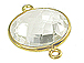 Gold over Sterling Silver Gemstone Bezel Round Link - Clear