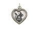Sterling Silver Rope Edge Heart Frame Double Sided Charm with Jumpring