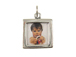 Sterling Silver Double Sided Plain Square Picture Frame Charm with Jumpring