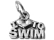 Sterling Silver  I Love To Swim Charm with Jumpring