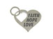 Sterling Silver Heart with Faith Hope Love Charm with Jumpring