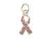 Sterling Silver Pink Breast Cancer Ribbon with Swarovski Crystals Charm with Jumpring