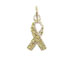 Sterling Silver Yellow Awareness Ribbon with Swarovski Crystals Charm with Jumpring