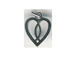 Sterling Silver Heart with Fish Symbol Charm with Jumpring
