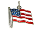 Sterling Silver United States Flag Enameled Red, White & Blue Charm with Jumpring