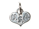 Sterling Silver Heart with USA Charm with Jumpring
