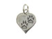 Sterling Silver Paws on Heart Charm with Jumpring