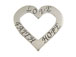 Sterling Silver Affirmation Heart: Love, Faith and Hope Charm with Jumpring