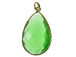 Green Chalcedony Large Teardop Faceted Gemstone Bezel Gold Plated Pendant