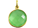 Green Chalcedony Round  Faceted Gemstone Bezel Set Gold Plated Pendant