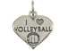 Sterling Silver Heart I Love Volleyball Charm with Jumpring