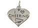 Sterling Silver Heart I Love Cheering Charm with Jumpring