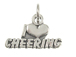 Sterling Silver I Love Cheering Charm with Jumpring