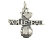 Sterling Silver I Love Volleyball Charm with Jumpring