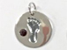 Sterling Silver Baby Feet Birthstone Charm - January