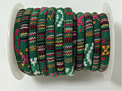 6mm Round Multicolors Cotton Cord MCC4 - Green Vegan Cord