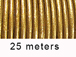 25 Meters -  Antique Gold Metallic Leather 2mm Round Leather Cord