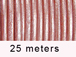 25 Meters -  Baby Pink Metallic Leather 2mm Round Leather Cord