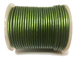 25 Meters -  Green Metallic Leather 2mm Round Leather Cord
