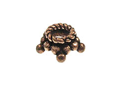 8mm Antiqued Copper 5-Point Bead Cap Strand