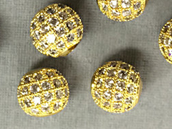 8mm Micro Pave Set CZ Bead,  Gold Finish